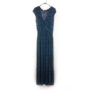 Tracy Reese jersey maxi dress surplice snakeprint